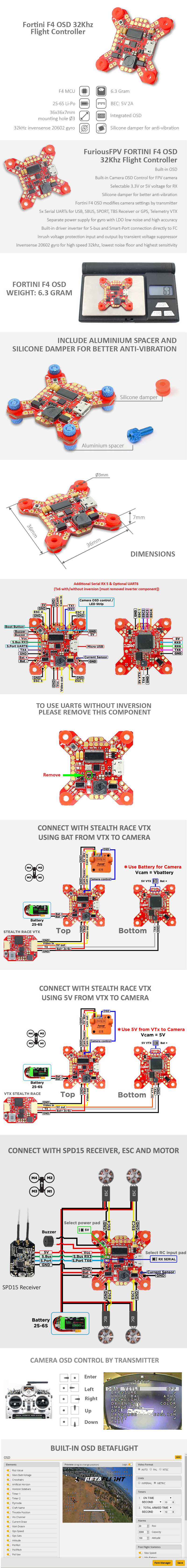 FORTINI F4 OSD 32Khz Flight Controller Rev 2, FURIOUS FPV